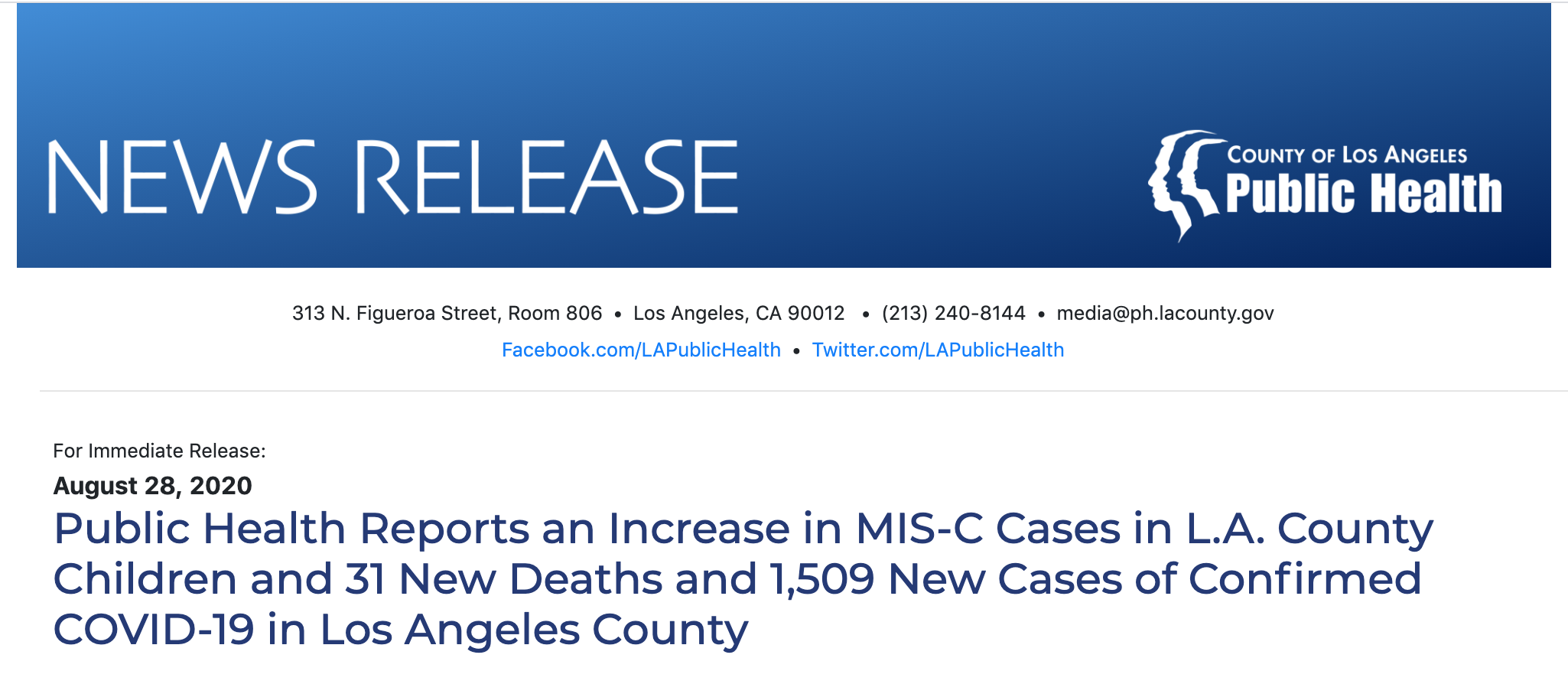 Public Health Reports an Increase in MIS-C Cases in L.A. County Children