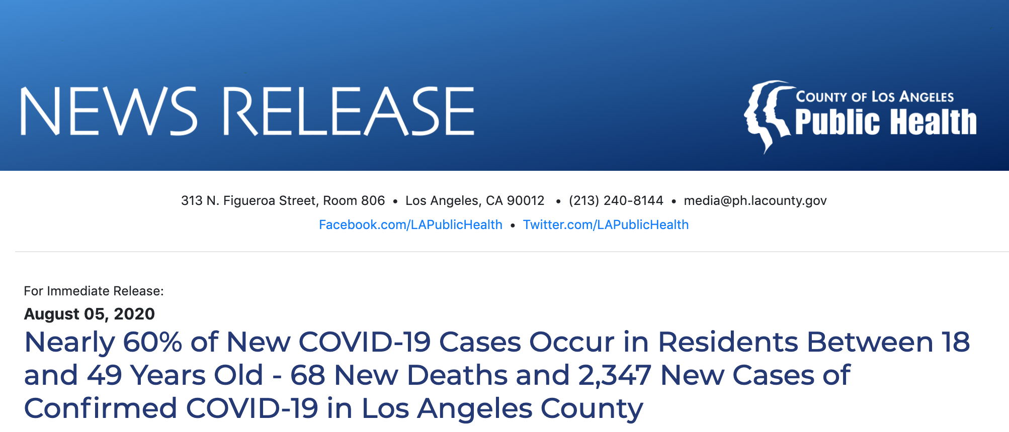 Nearly 60% of New COVID-19 Cases Occur in Residents Between 18 and 49 Years Old