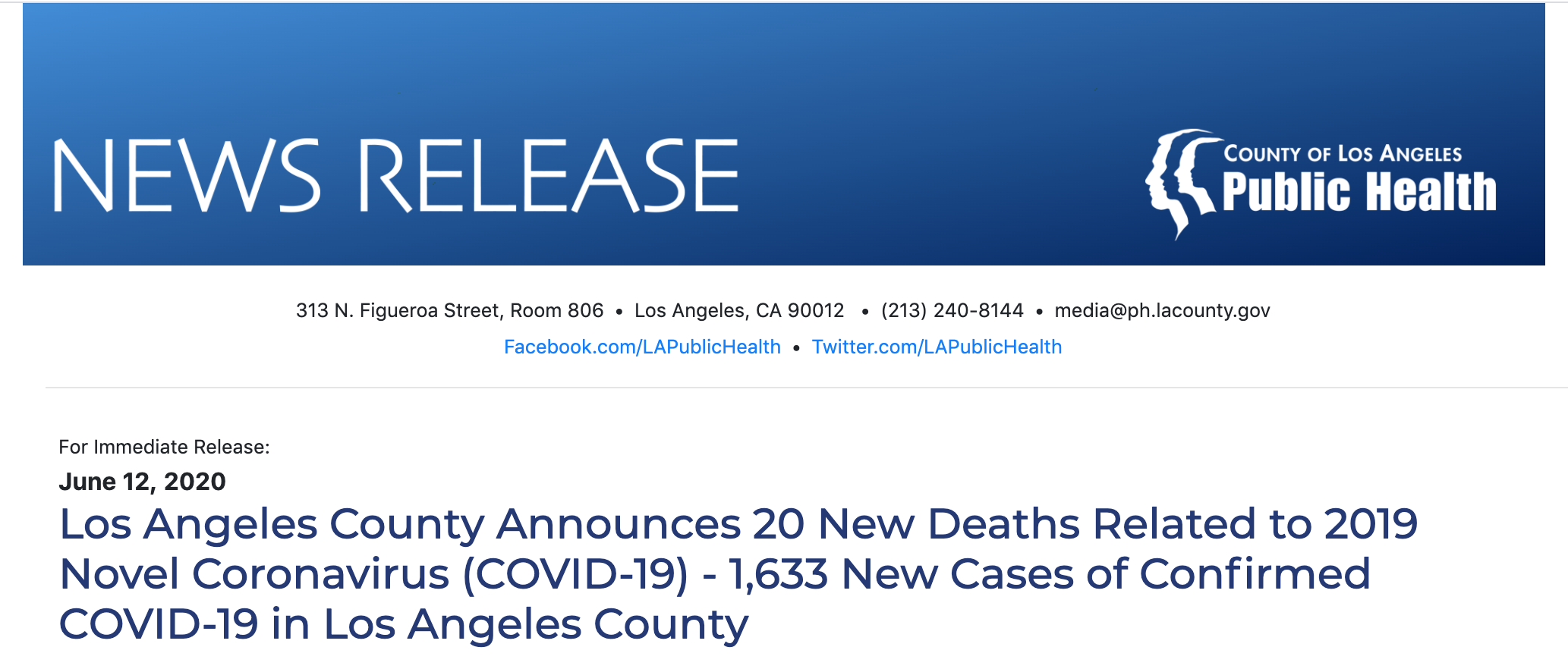 Los Angeles County Announces 20 New Deaths Related to 2019 Novel Coronavirus (COVID-19) - 1,633 New Cases