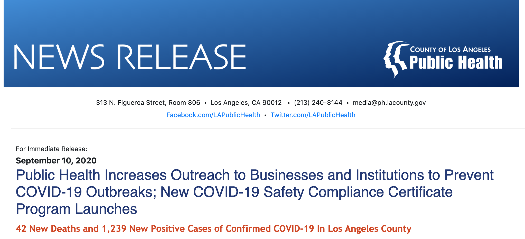 Public Health Increases Outreach to Businesses and Institutions to Prevent COVID-19 Outbreaks