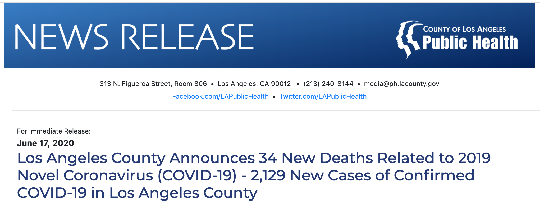 Los Angeles County Announces 34 New Deaths Related to 2019 Novel Coronavirus (COVID-19) 2,129 New Cases