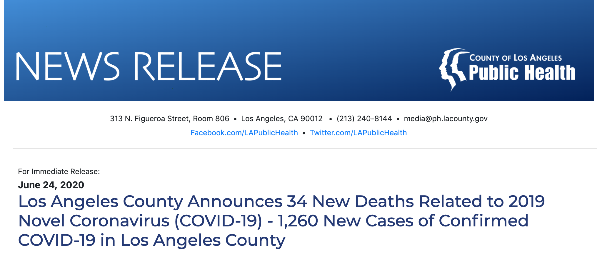 Los Angeles County Announces 34 New Deaths Related to 2019 Novel Coronavirus (COVID-19) - 1,260 New Cases