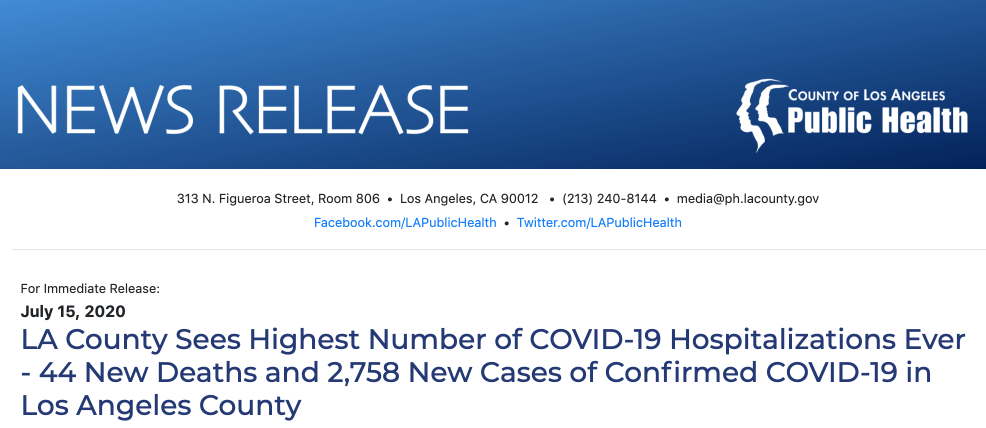 LA County Sees Highest Number of COVID-19 Hospitalizations Ever - 44 New Deaths and 2,758 New Cases